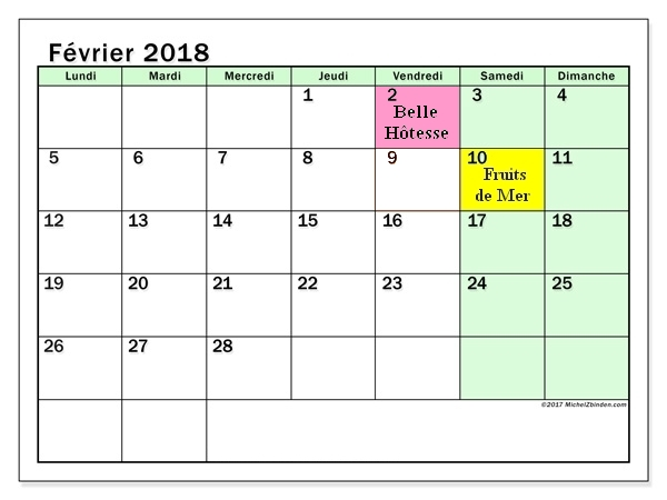Calendrier fevrier 2018 60ld