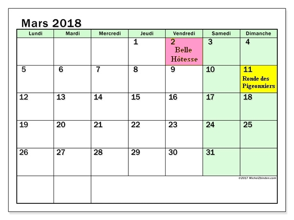 Calendrier mars 2018 60ld